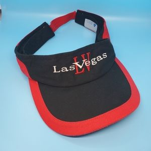 Las Vegas  black, red, golf hat/visor.